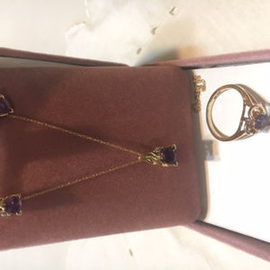 Amethyst/Gold earrings, ring, necklace